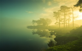 Preview wallpaper Beautiful dawn scenery, trees, lake, mist, sunrise, blurry