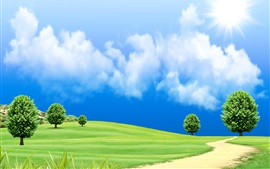 Beautiful dream world, green grass, trees, road, clouds, sun