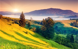 Preview wallpaper Beautiful nature landscape, sunrise, dawn, hills, green, trees