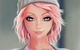 Beautiful pink haired fantasy girl, smile, hat