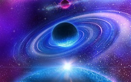 Preview wallpaper Beautiful space, galaxy, nebula, planet, stars