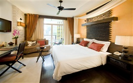 Bedroom, bed, table, ceiling fan, window