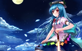 Blue hair anime girl at night, sword, moon