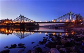 Ponte, rio, pedras, noite, iluminação