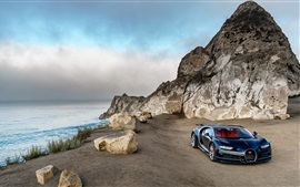Bugatti Chiron blue luxury car, North America, coast