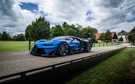 Bugatti Vision Gran Turismo hypercar azul, camino, nubes