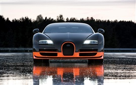 Preview wallpaper Bugatti supercar front view, wet road