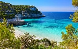 Preview wallpaper Cala Mitjaneta, Menorca island, Spain, blue sea, coast, trees