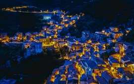 Castelmezzano, Italy, houses, night, lights