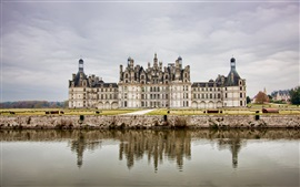 Castle, water, clouds, France
