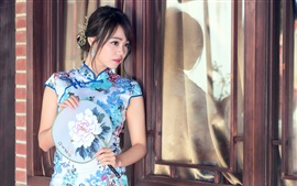 Preview wallpaper Chinese blue cheongsam girl