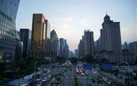 cidades chinesas, Guangzhou, crepúsculo, arranha-céus, o tráfego