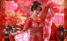 Chinese girl, red dress, Tang Dynasty costumes