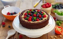 Chocolate cake, berries, food, sweet