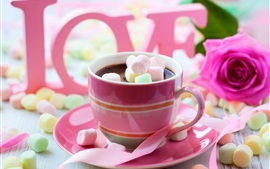 Preview wallpaper Chocolate drink, pink style, cotton candy, rose, love, Valentine's Day