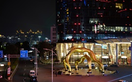 City night, Guangzhou, square, statue, lights