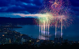 Preview wallpaper City night, beautiful fireworks, bay, houses, lights