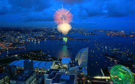 City night, fireworks, houses, lights, bay, Yokohama, Japan
