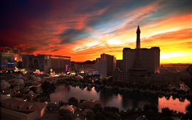 Preview wallpaper City night view, Las Vegas, casino, buildings, lights, sunset, red sky