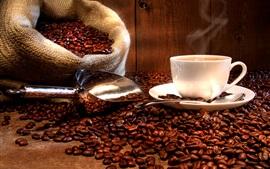 Aperçu fond d'écran boissons de café, tasse, soucoupe, grains de café