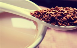 Coffee granule, spoon