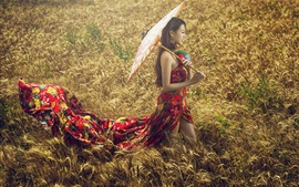 Preview wallpaper Colorful dress Asian girl in the grass