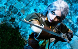 Preview wallpaper Cosplay girl, The Witcher Hunter, sword