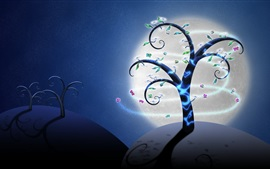 Preview wallpaper Creative art picture, trees, butterflies, flowers, moon, night