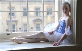 Preview wallpaper Cute ballerina little girl sit at window side