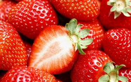 Preview wallpaper Delicious and juicy strawberries, fruit macro photography