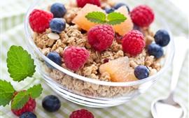 Aperçu fond d'écran Délicieux petit déjeuner, les framboises, les bleuets, les fruits, la nourriture