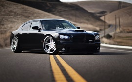 Preview wallpaper Dodge Charger SRT8 black car at road