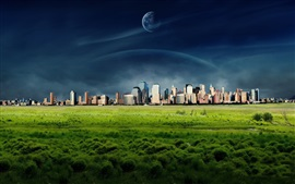 Preview wallpaper Dreamy World, New York city, grass, clouds