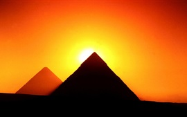 Egypt, Giza, pyramids, sunset, red sky, silhouette