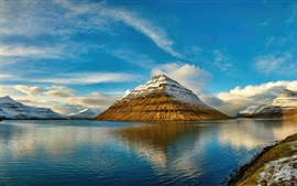 Faroe Islands, mountains, sea, clouds, water reflection