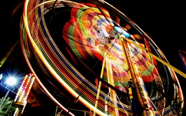 Preview wallpaper Ferris wheel, colorful light, night, entertainment devices