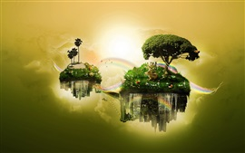 Float islands, sky, trees, grass, deer, rainbow, creative design