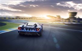 Preview wallpaper Ford GT II blue supercar back view and speed