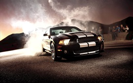 Preview wallpaper Ford Mustang Shelby GT500 black car front view