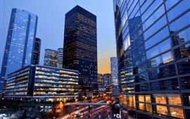 France, Paris, La Defense, city night, skyscrapers, lights