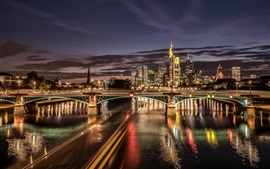 Frankfurt, Germany, river, illumination, bridge, skyscrapers, night