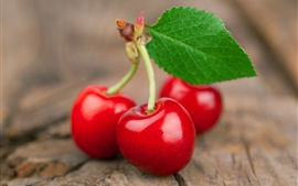 Preview wallpaper Fresh red cherries macro photography