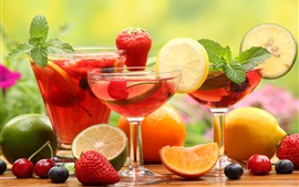 Preview wallpaper Fruit drinks, glass cups, strawberry, lemon, lime, orange, cherries