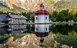 Preview wallpaper Germany, temple, houses, mountain, lake,water reflection