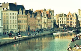 Preview wallpaper Ghent, Belgium, city view, houses, river, people