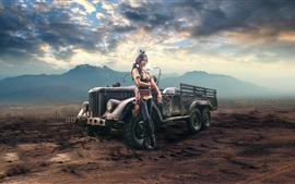 Preview wallpaper Girl and car, cigarette, steampunk, retro style