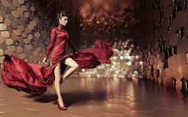 Glamorous girl, red skirt flying, creative space