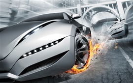Preview wallpaper Gray supercar, fire, wheels