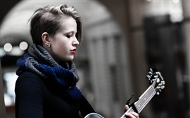 Preview wallpaper Guitar girl, music, red lips