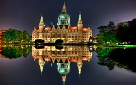 Hannover, Germany, night, house, lights, water reflection